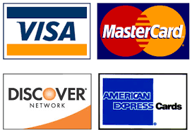 We accept American Express, Discover, MasterCard, and Visa